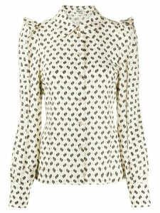 Kenzo ruffled sleeve patterned shirt - NEUTRALS
