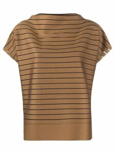 Issey Miyake short sleeve striped print top - Brown