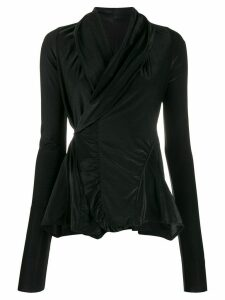 Rick Owens Lilies metallic-thread wrap blouse - Black