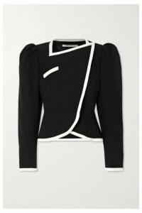Alessandra Rich - Double-breasted Belted Two-tone Wool Jacket - Black