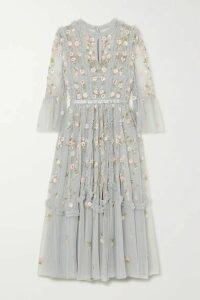 Needle & Thread - Wallflower Ruffled Embellished Embroidered Tulle Dress - Sky blue