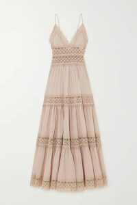 Charo Ruiz - Cindy Tiered Crocheted Lace-paneled Cotton-blend Voile Maxi Dress - Taupe