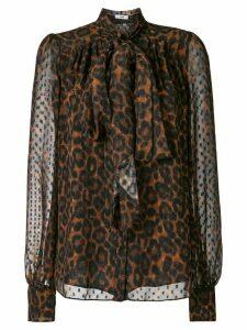 Erdem leopard-print pussy-bow blouse - Brown