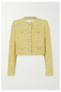 Alessandra Rich - Cropped Crystal-embellished Sequined Tweed Jacket - Yellow