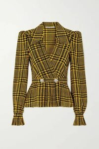 Alessandra Rich - Double-breasted Crystal-embellished Houndstooth Silk Blouse - Yellow
