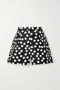 Carolina Herrera - Pleated Polka-dot Cotton And Silk-blend Faille Shorts - Black
