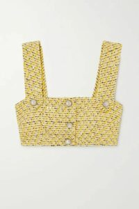 Alessandra Rich - Cropped Crystal-embellished Sequined Tweed Top - Yellow