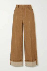 Chloé - Topstitched Wide-leg Jeans - Brown