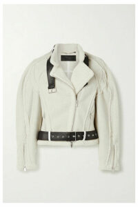 Peter Do - Car Seat Leather-trimmed Shearling Biker Jacket - Cream
