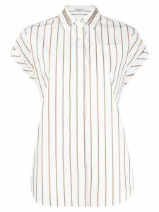 Brunello Cucinelli brass-embellished striped shirt - White