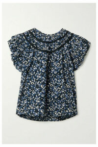 Ulla Johnson - Amai Ruffled Printed Cotton-voile Top - Navy