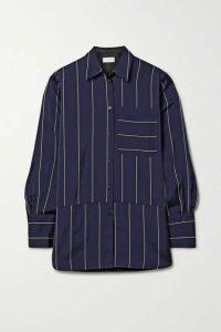 La Ligne - Sadie Paneled Striped Crepe De Chine Shirt - Navy