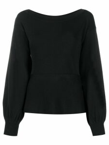 Pinko billowing-sleeve knitted top - Black
