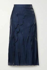 KENZO - Crinkled-satin Midi Skirt - Midnight blue