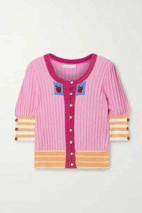 LoveShackFancy - Benny Crochet-trimmed Pima Cotton And Modal-blend Intarsia Cardigan - Pink