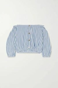 Melissa Odabash - Danna Off-the-shoulder Striped Cotton Top - Blue