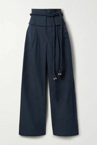 Tory Burch - Belted Shell Wide-leg Pants - Navy