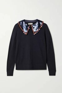 Tory Burch - Convertible Embellished Merino Wool Sweater - Navy