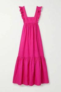 Self-Portrait - Open-back Ruffled Cotton-poplin Maxi Dress - Fuchsia