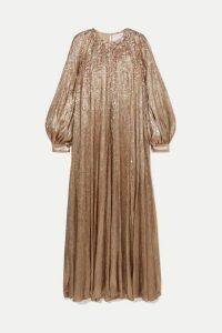 Oscar de la Renta - Pleated Embellished Silk-blend Lamé Gown - Gold