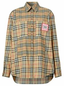 Burberry logo appliqué contrast check shirt - NEUTRALS