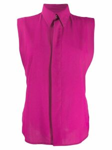 Ami Paris Invisible Button Placket Sleeveless Shirt - PINK