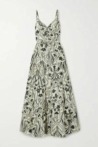 Johanna Ortiz - Floral Architecture Tiered Cutout Printed Cotton-poplin Maxi Dress - Ecru