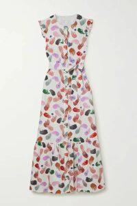 Borgo de Nor - Gabrielle Ruffled Belted Printed Cotton-poplin Maxi Dress - White