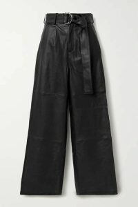 Deadwood - Poppy Leather Wide-leg Pants - Black