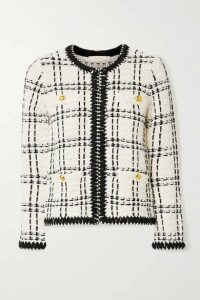 Tory Burch - Kendra Chiffon-trimmed Linen-blend Tweed Jacket - Ecru
