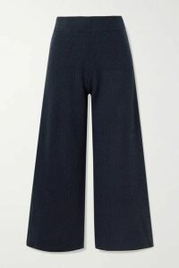 La Ligne - Cropped Ribbed Cashmere Wide-leg Pants - Navy
