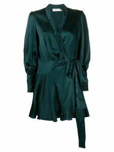 Zimmermann silk wrap-front mini dress - Green