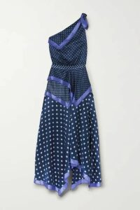 Altuzarra - Petrel One-shoulder Asymmetric Polka-dot Silk-satin Dress - Blue