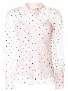 Erdem Fayola polka dot-flocked blouse - PINK