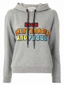 Alice+Olivia Barron sequinned-graphic cotton hoodie - Grey