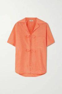 KENZO - Tie-front Woven Shirt - Orange