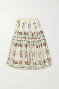 Tory Burch - Pleated Floral-print Cotton And Silk-blend Wrap Skirt - Off-white