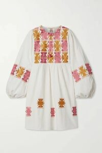 Figue - Lucie Embroidered Cotton Mini Dress - Ivory