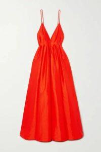 Paris Georgia - Bella Open-back Pintucked Silk-taffeta Gown - Orange
