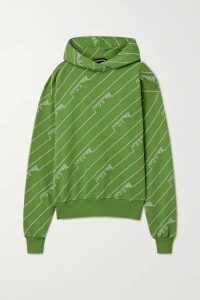 House of Holland - Oversized Embroidered Cotton-jersey Hoodie - Leaf green