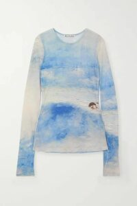 Acne Studios - Frayed Printed Stretch-mesh Top - Blue
