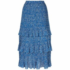 Traffic People Maxi Rara Tiered Skirt In Blue Animal Print