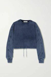 Ninety Percent - Cropped Paneled Organic Cotton-jersey Sweatshirt - Navy