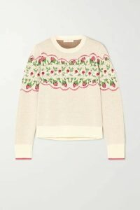 Tory Burch - Embellished Embroidered Fair Isle Wool-blend Sweater - Off-white