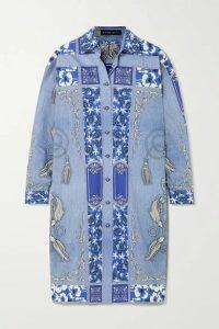 Etro - Printed Cotton Shirt Dress - Blue