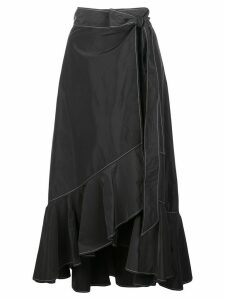 GANNI ruffle-trim asymmetric skirt - Black
