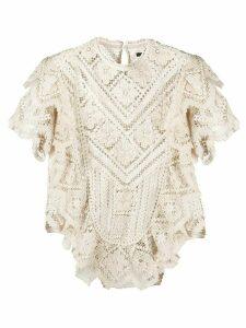 Isabel Marant Zanios crochet knit blouse - NEUTRALS