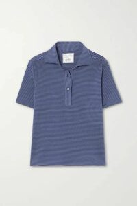 Giuliva Heritage - The Daphne Striped Cotton-piqué Polo Shirt - Blue