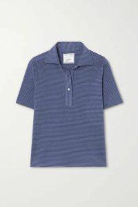Giuliva Heritage - The Daphne Striped Cotton-piqué Polo Shirt - Blue