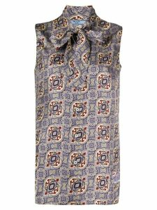 Prada Arabesque-motif sleeveless blouse - PURPLE
